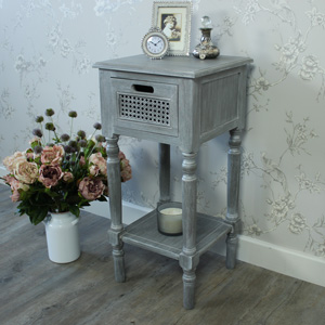 Milan Range - Grey One Drawer Side Table