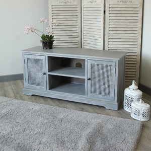 Milan Range - Grey 2 Drawer Television Unit