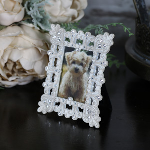 Mini White Jewel Photograph Frame