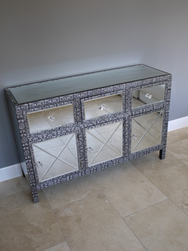 Monique Range - Silver 3 Drawer 3 Door Sideboard