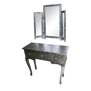 Monique Range - Silver 3 Drawer Dressing Table and Triple Mirror