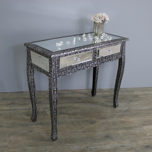 Silver Embossed Mirrored Dressing/Console Table - Monique Range