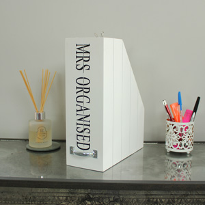 Mrs Organised Wooden Box File Holder