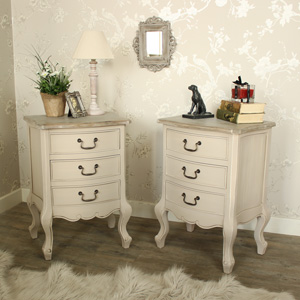 Mushroom Grey Painted Pair of Wooden 3 Drawer Bedside Chests - Louisiana Range