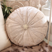 Ivory Crushed Velvet Effect Round Cushion With Diamante And Pearl centre