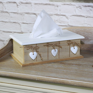 Natural White Wooden Tissue Box