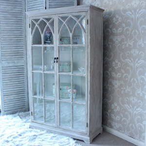 Grey Washed Wood Glass Cabinet