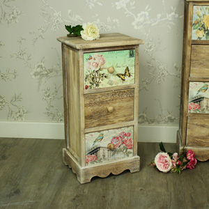 Natural Wooden Floral 3 Drawer Bedside Chest of Drawers - Belle Range
