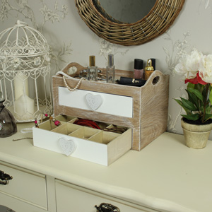 Natural Wooden Heart Makeup/Trinket/Craft Storage Box
