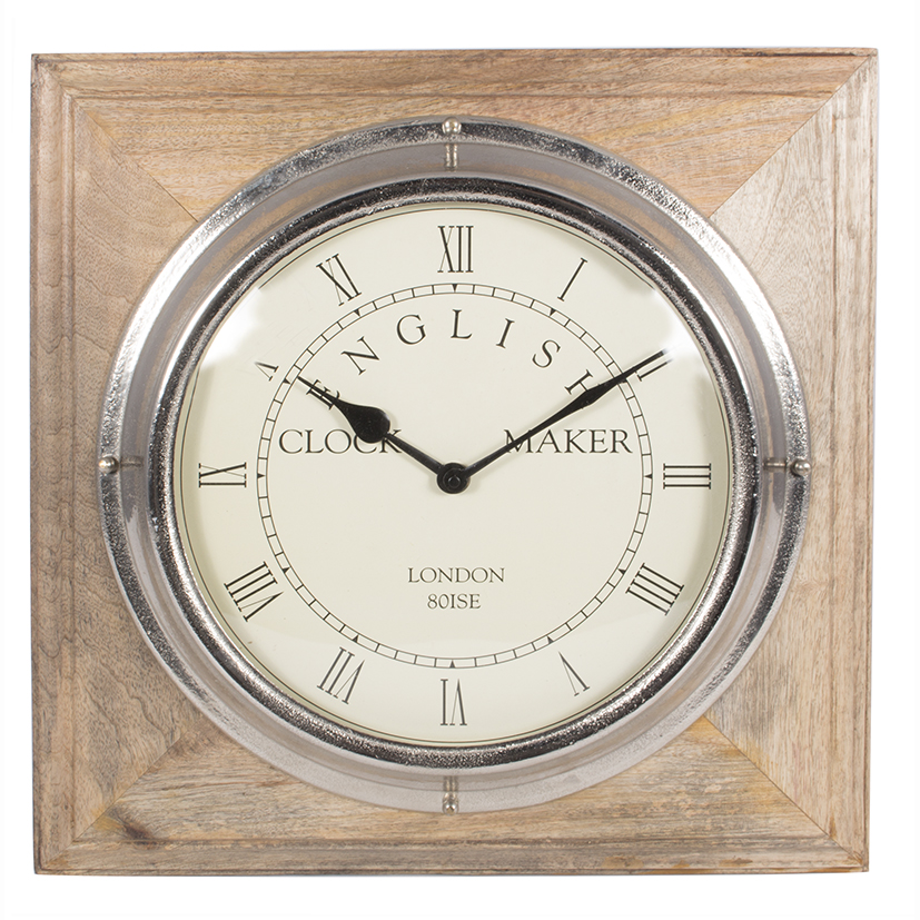Nickel and Mango Wood Square Wall Clock