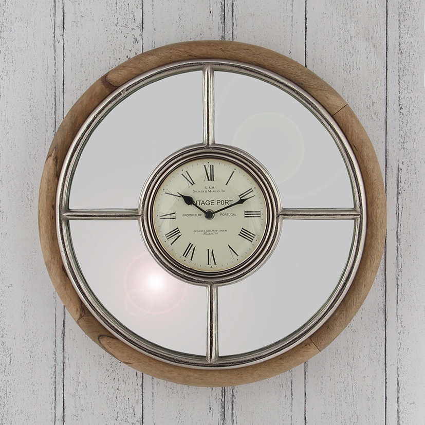 Nickel & Mango Wood Wall Clock