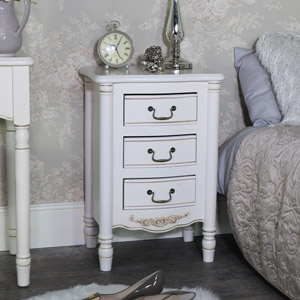 Ornate Antique Cream 3 Drawer Bedside Chest - Adelise Range