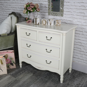 Ornate Antique Cream 4 Drawer Chest of Drawers - Adelise Range