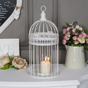 Ornate Antique White Birdcage Lantern Candle Holder