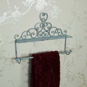 Ornate Blue Metal Towel Rail