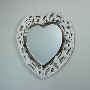 Ornate Carved White Wooden Heart Mirror