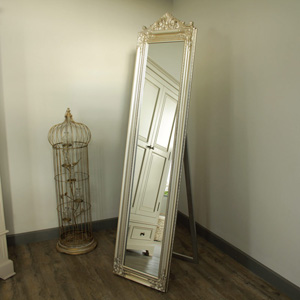Ornate Champagne Silver Cheval Mirror