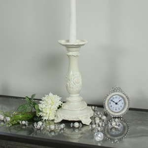 Ornate Cream Candlestick
