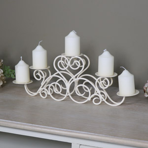 Ornate Cream Metal 5 Arm Candelabra