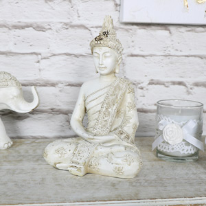 Ornate Cream Sitting Buddha Ornament