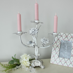 Ornate Flower Triple Candle Holder