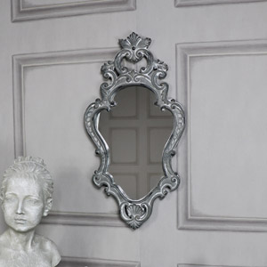 Ornate French Grey Wall Mirror 28cm x 57cm