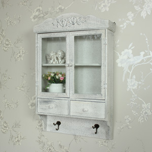 Ornate Glazed Wall Cabinet with Hooks