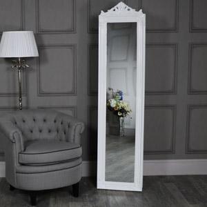 Ornate Gloss White Floor Standing Cheval Mirror
