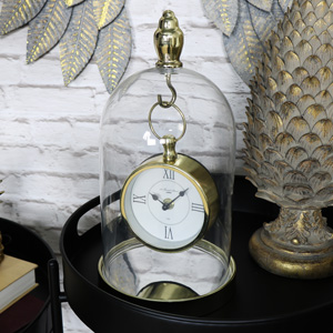 Ornate Gold Mantel Clock in Glass Dome Case