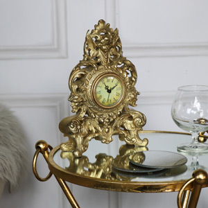 Ornate Gold Vintage Cherub Mantel Clock