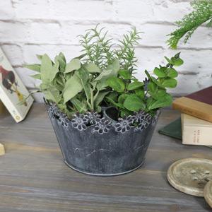 Ornate Grey Metal Planter