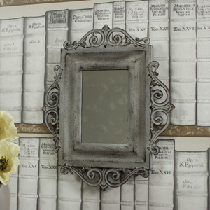 Ornate Grey Metal Wall Mirror