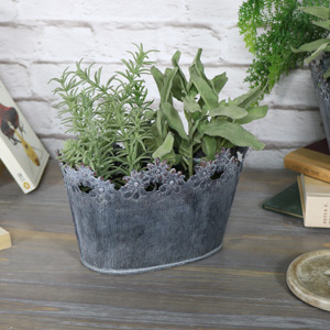 Ornate Grey Oval Metal Planter