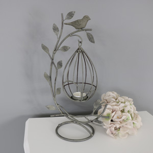 Ornate Grey Vintage Birdcage Tealight Holder