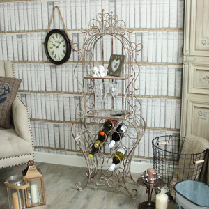 Ornate Metal Wine Rack with Shelves