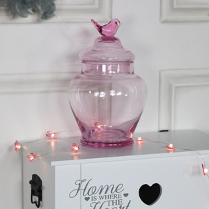 Ornate Pink Glass Jar