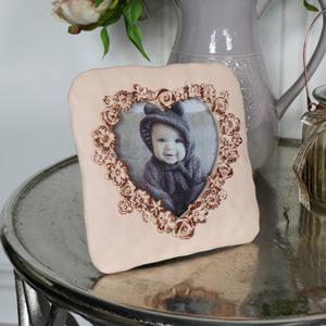 Ornate Pink Rose Heart Photograph Frame