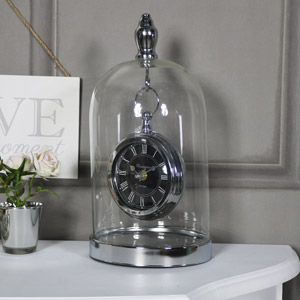 Ornate Silver Mantel Clock in Glass Cloche Dome Case