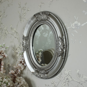 Ornate Silver Oval Wall Mirror 33cm x 41cm