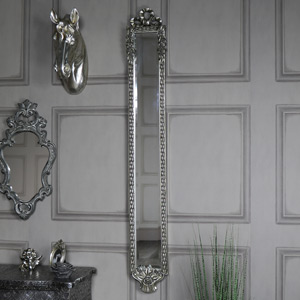 Ornate Silver Vintage Rose Detailed Slim Wall Mounted Mirror