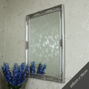 Ornate Silver Wall Mirror 106cm x 76cm