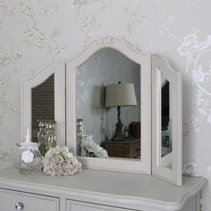 Ornate Triple Dressing Table Vanity Mirror - Elise Grey 84.5cm x 60cm