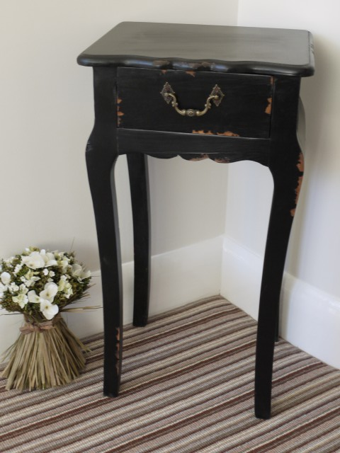 Ornate Vintage Black 1 Drawer Bedside Lamp Table