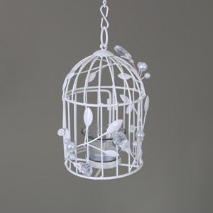 Ornate Vintage Cream Hanging Birdcage Candle Tealight Holder