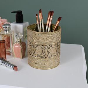 Ornate Vintage Gold Metal Makeup Brush/Candle Holder