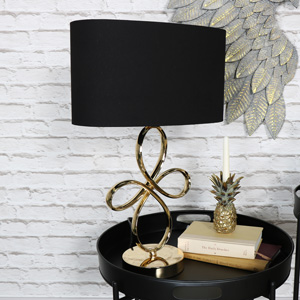 Ornate Vintage Gold Metal Table Lamp