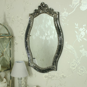 Ornate Vintage Grey Rose & Ribbon Wall Mirror