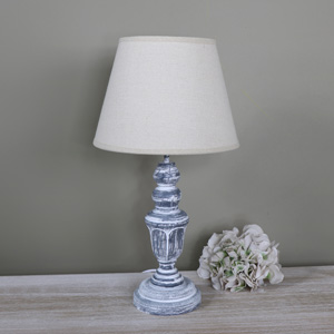 Ornate Vintage Grey White Washed Wooden Table Lamp