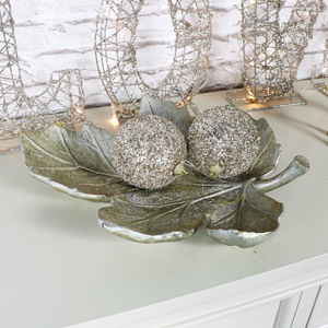 Ornate Vintage Silver Leaf Display Dish