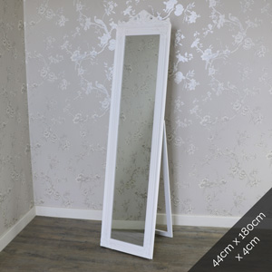 Ornate White Full Length Vintage Freestanding Cheval Mirror 44cm x 180cm